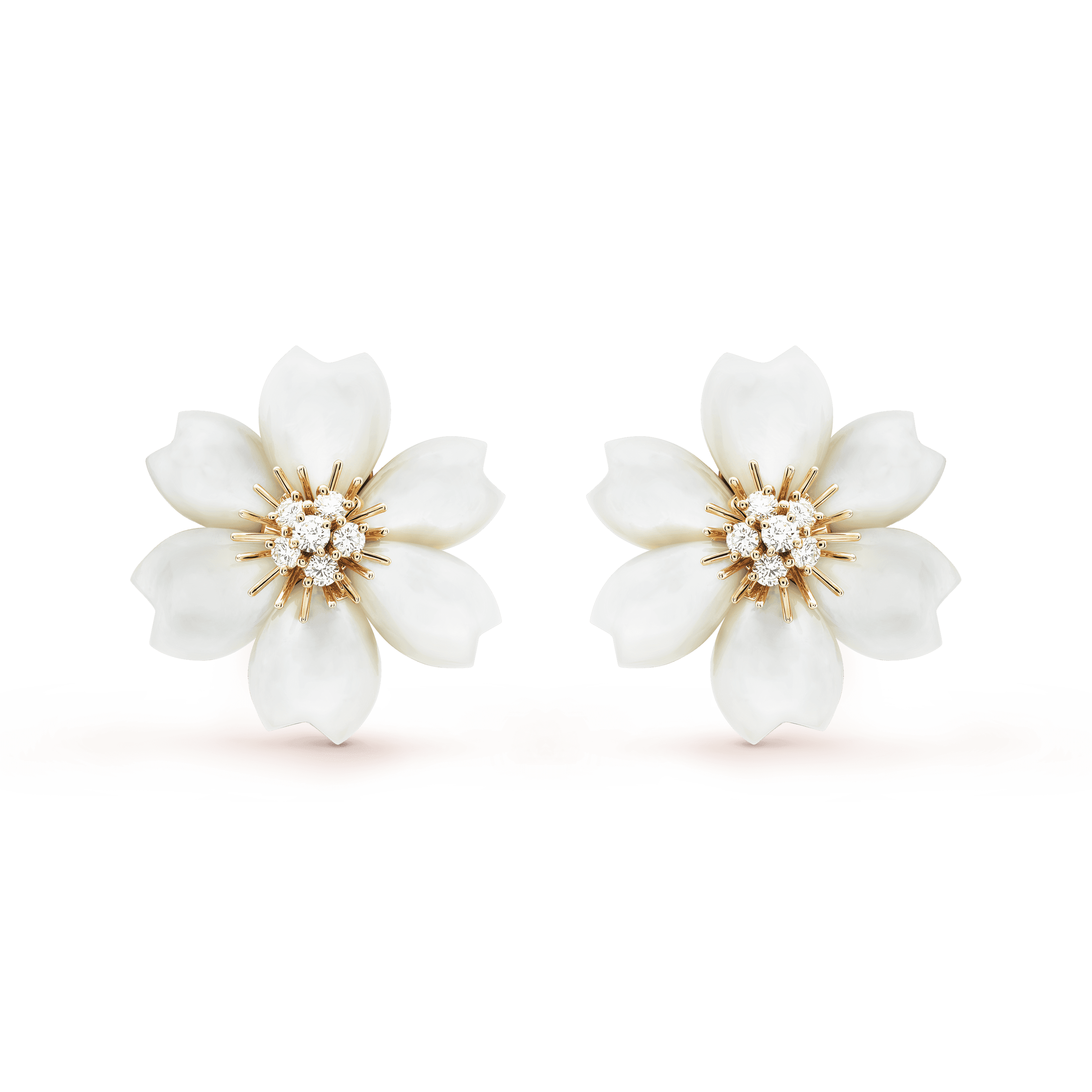 Rose de Noël earrings, small model, - Front View - VCARA55600 - Van Cleef & Arpels
