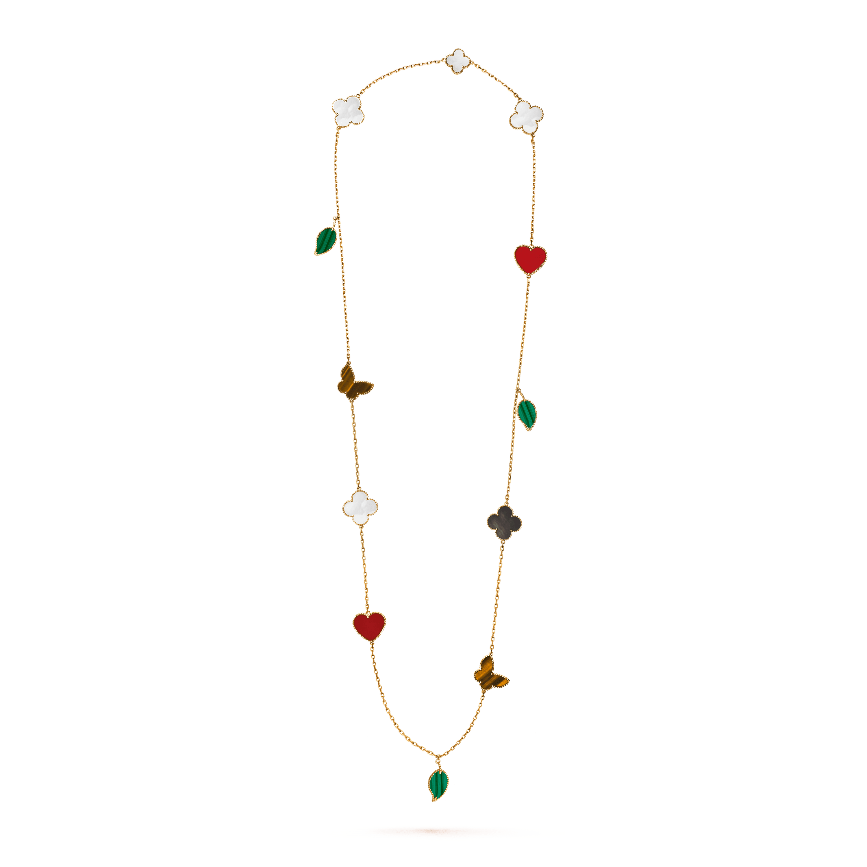 Lucky Alhambra long necklace, 12 motifs, - On Stand View - VCARD80100 - Van Cleef & Arpels