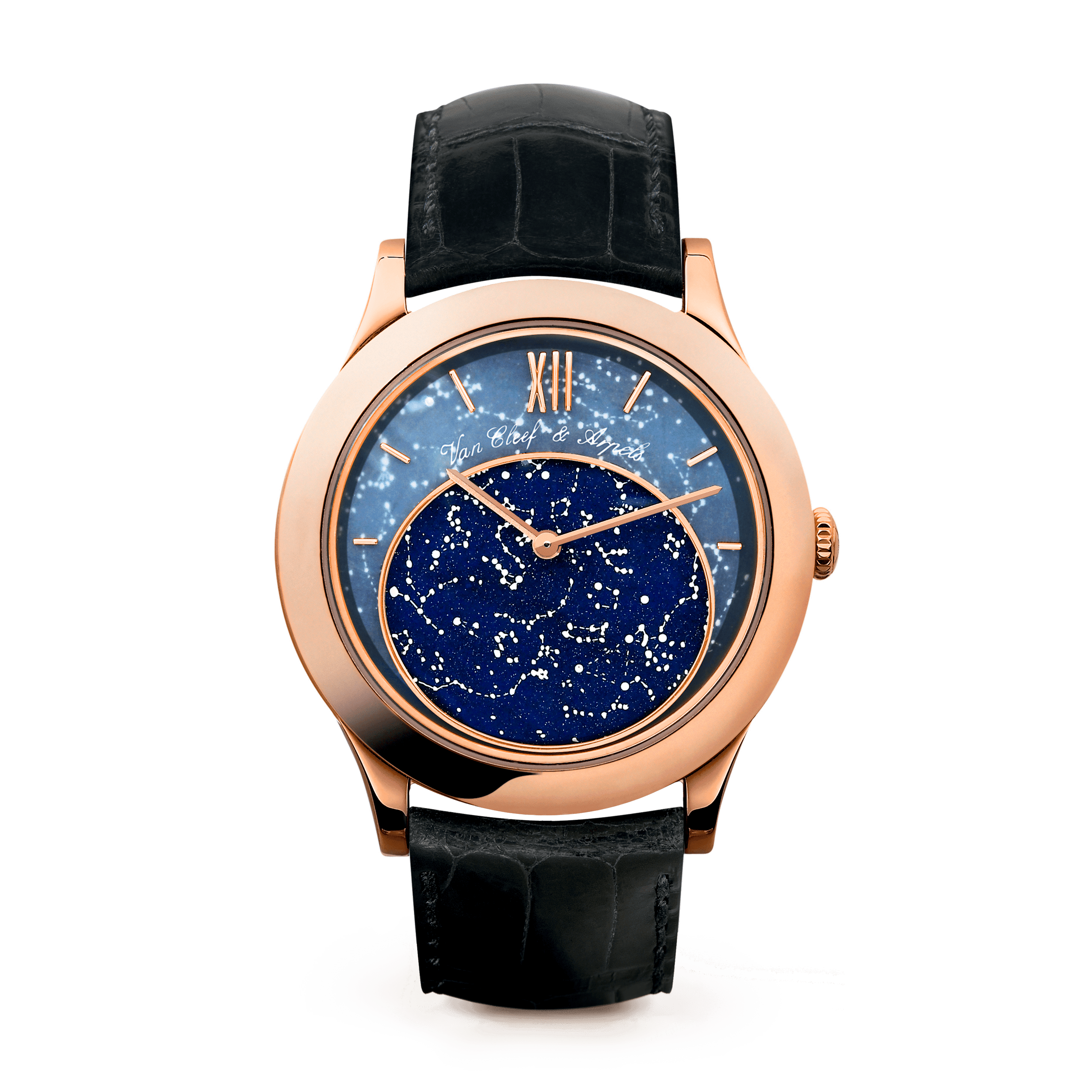 Midnight in Paris Watch,Satin-finish alligator, square scale - Front View - VCARF80700 - Van Cleef & Arpels