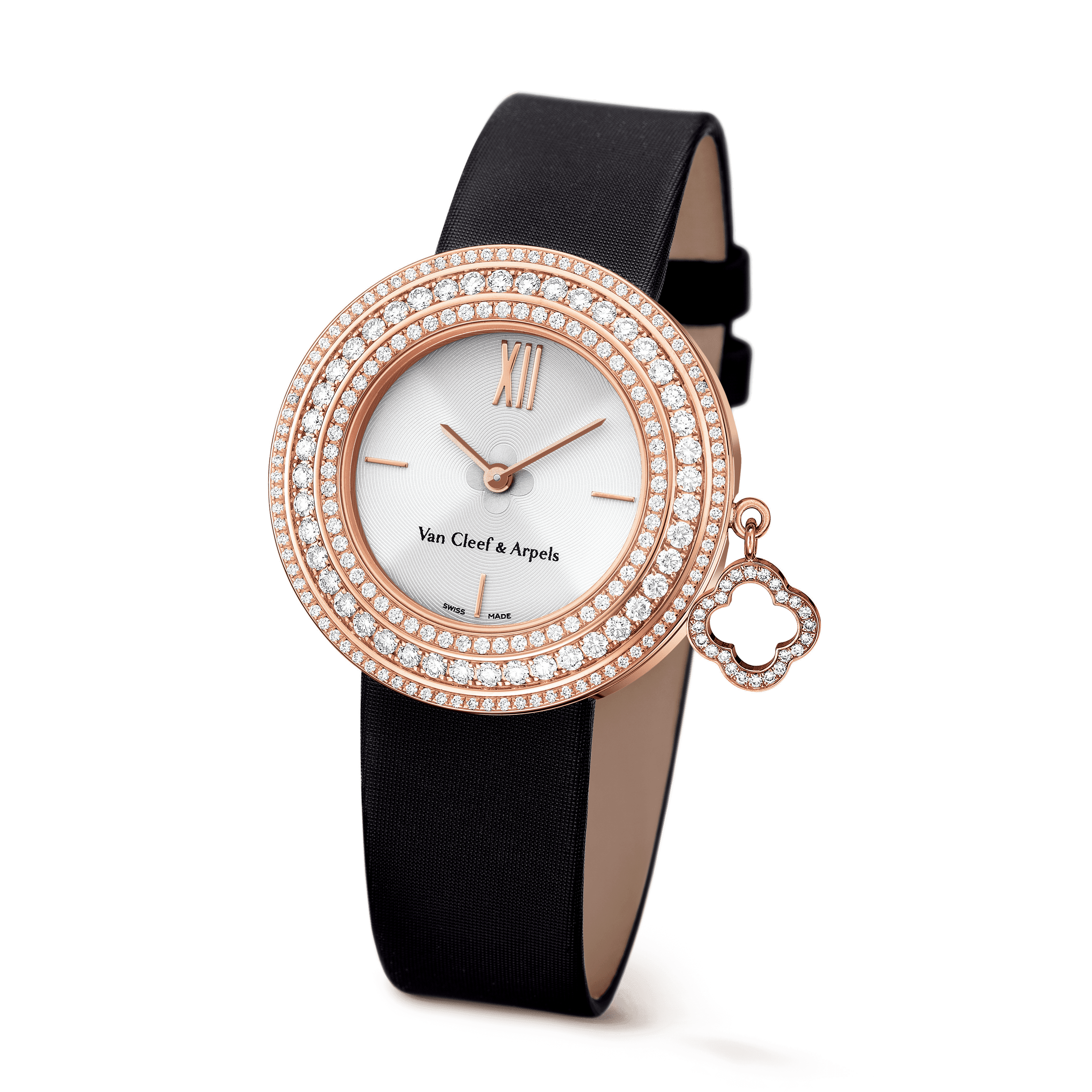 Charms watch, 32 mm,Satin,self interchangeable - 3|4 View - VCARM93500 - Van Cleef & Arpels