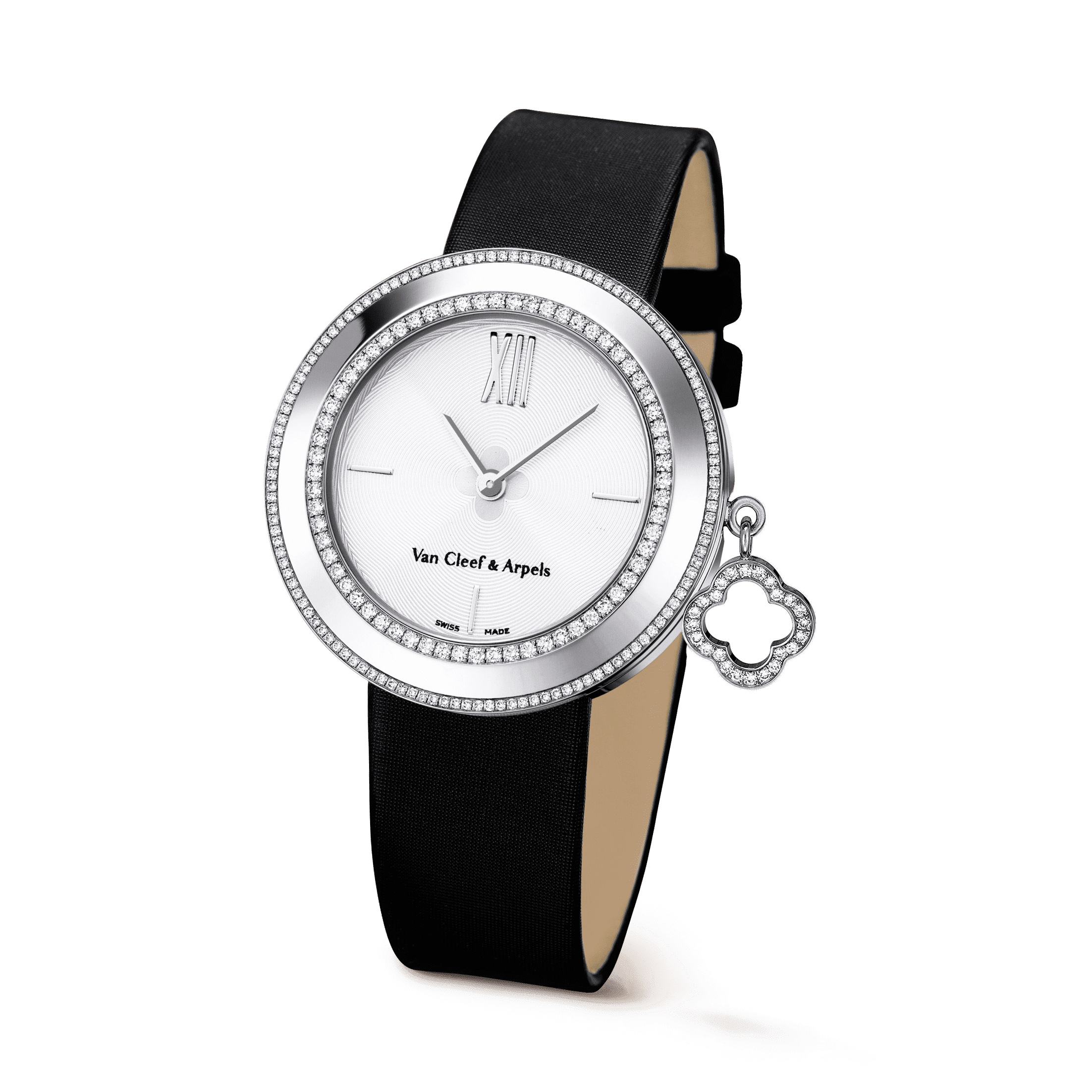 Charms watch, 32 mm,Satin,self interchangeable - 3|4 View - VCARM95200 - Van Cleef & Arpels
