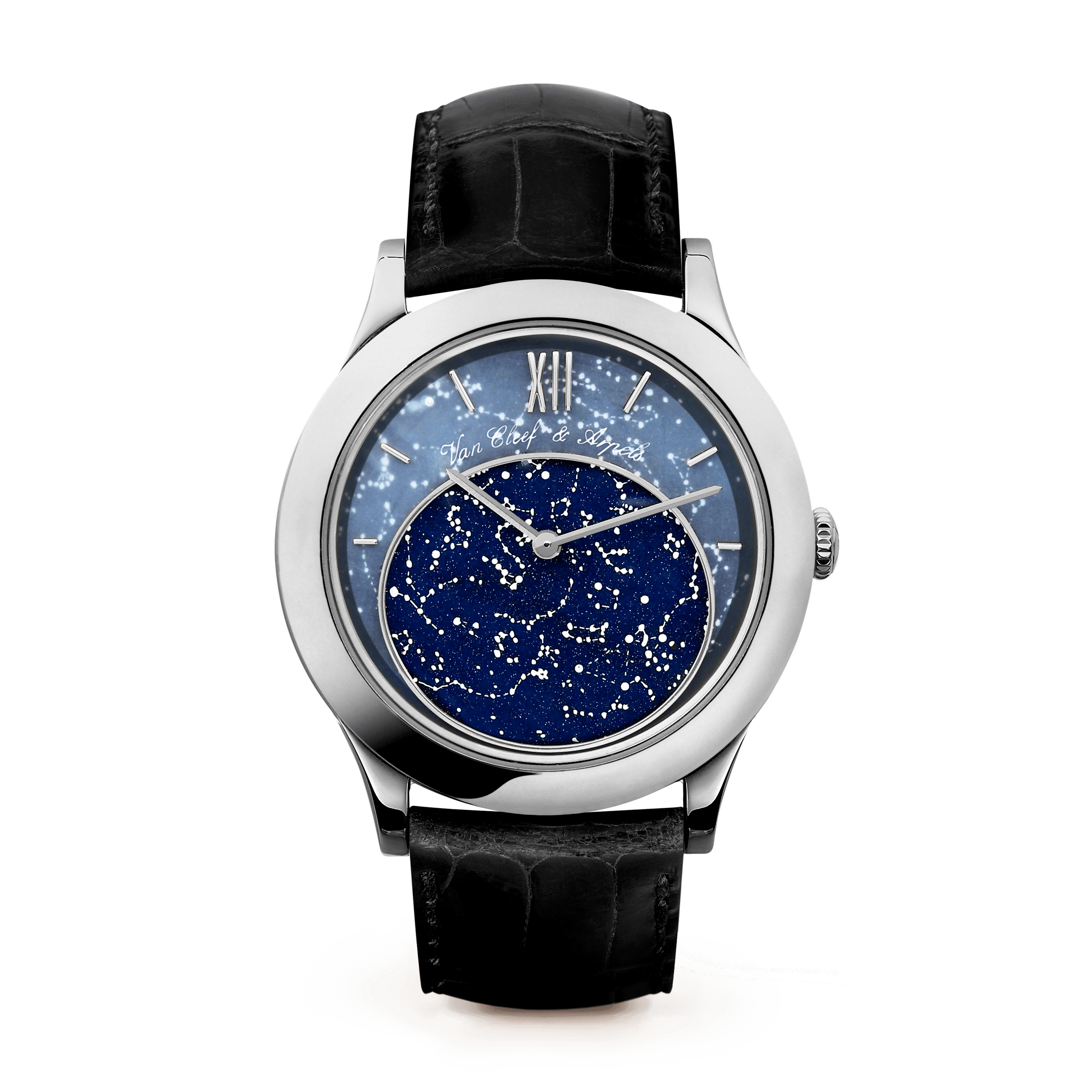 Midnight in Paris Watch,Satin-finish alligator, square scale - Front View - VCARN5HI00 - Van Cleef & Arpels