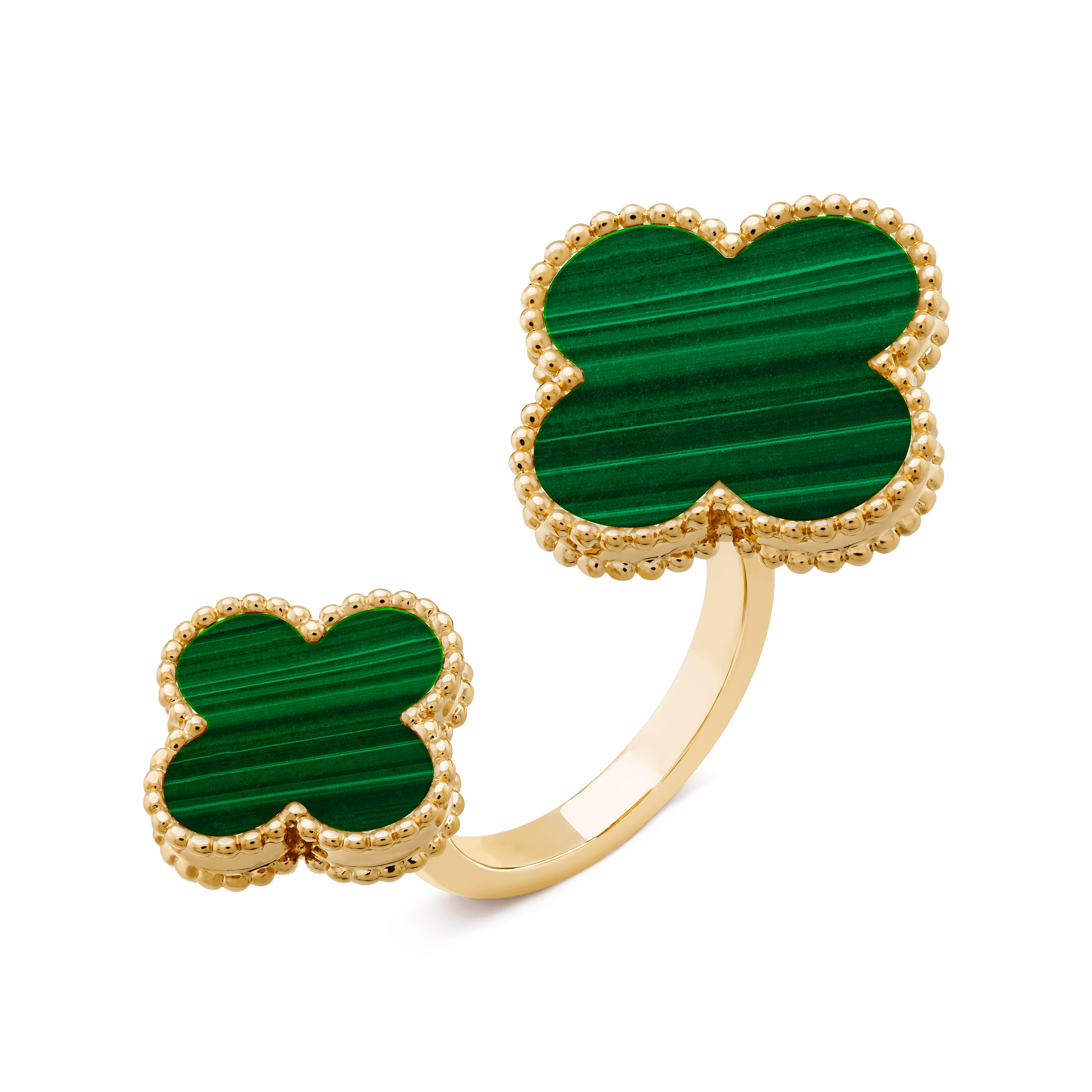 Magic Alhambra Between the Finger ring, Yellow gold, Malachite:  2 stones, Three Fourth, Jewelry Ring