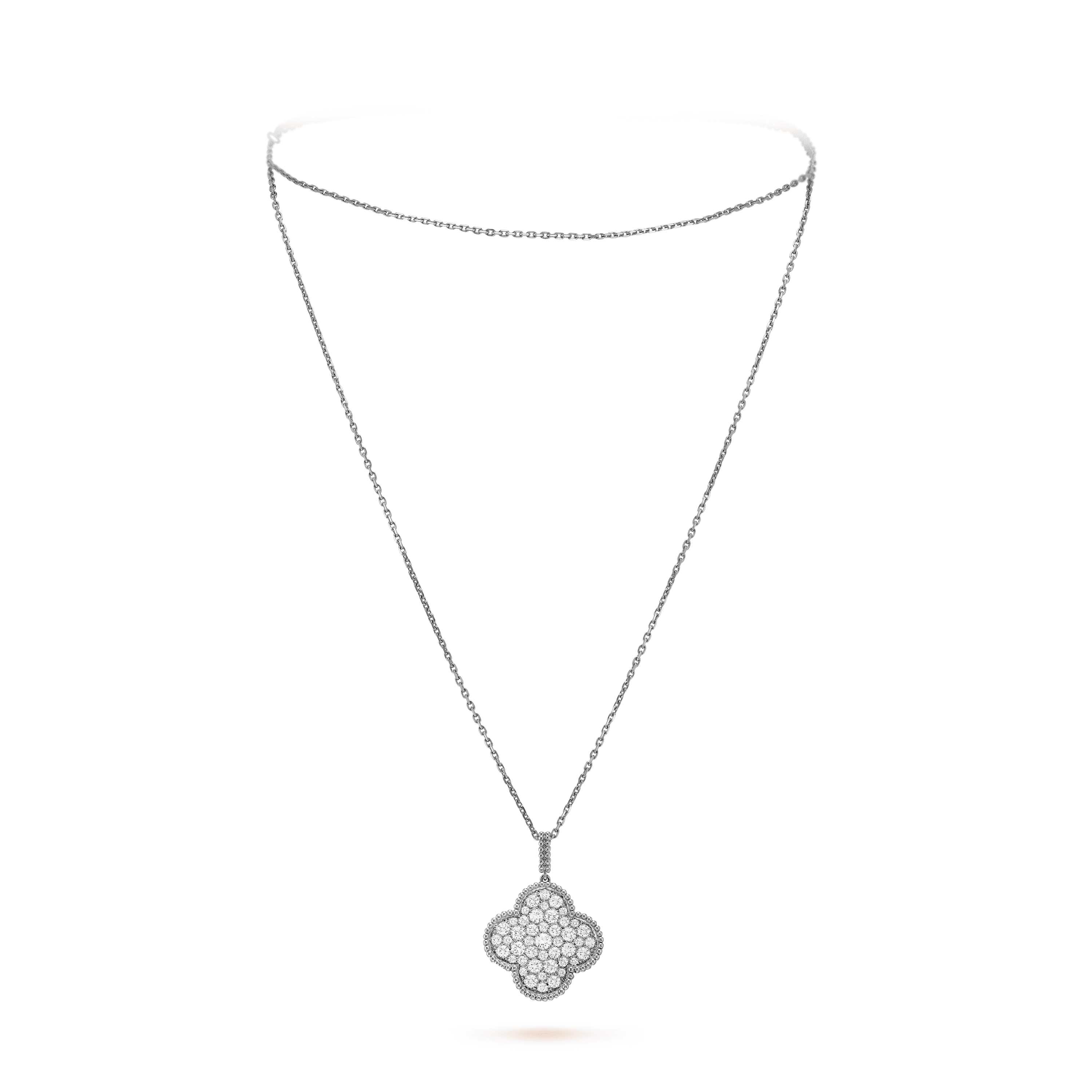 Magic Alhambra long necklace, 1 motif, - On Stand View - VCARO49O00 - Van Cleef & Arpels
