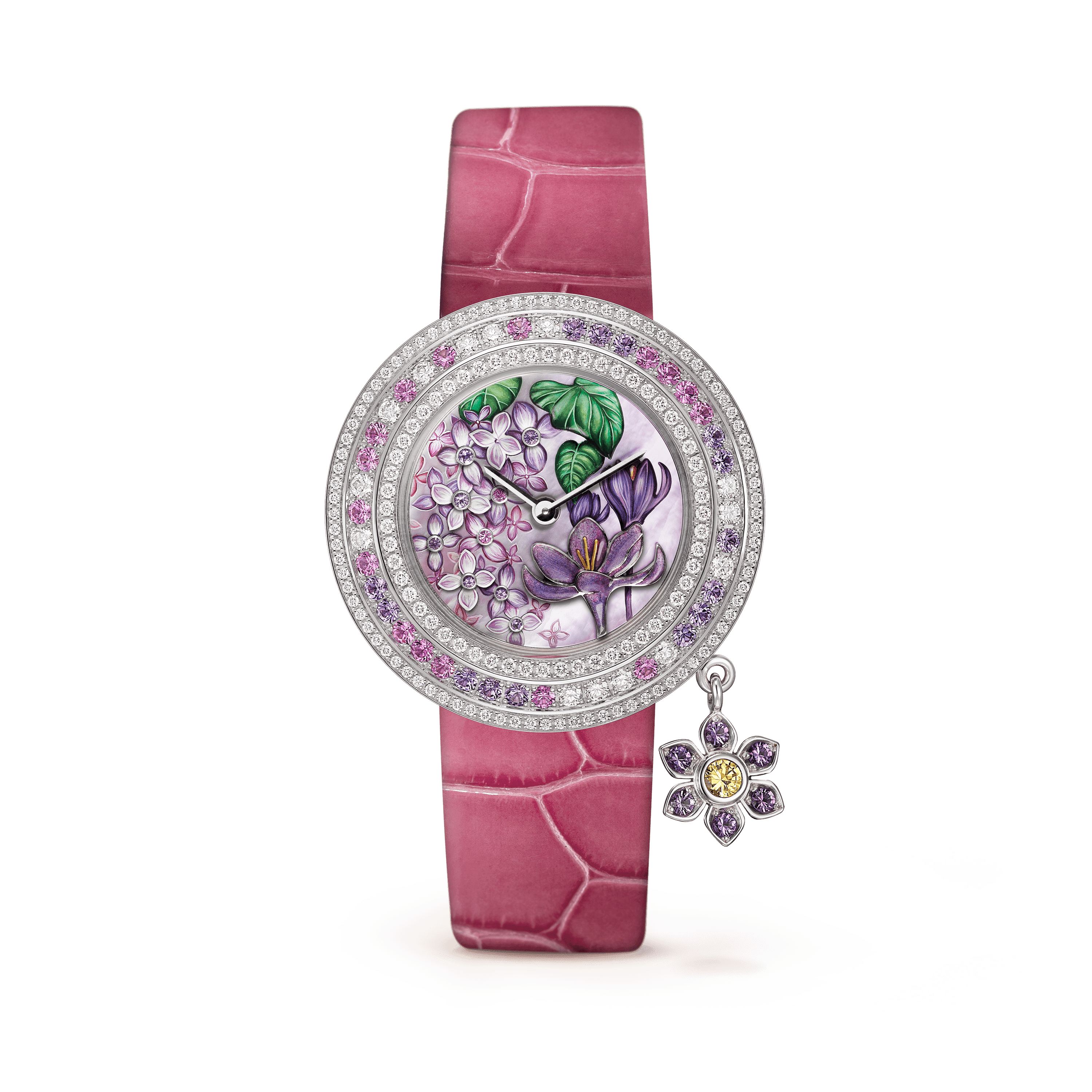 Charms Extraordinaire Désir Watch,Shiny alligator, square scale,self interchangeable - Front View - VCARO4JV00 - Van Cleef & Arpels