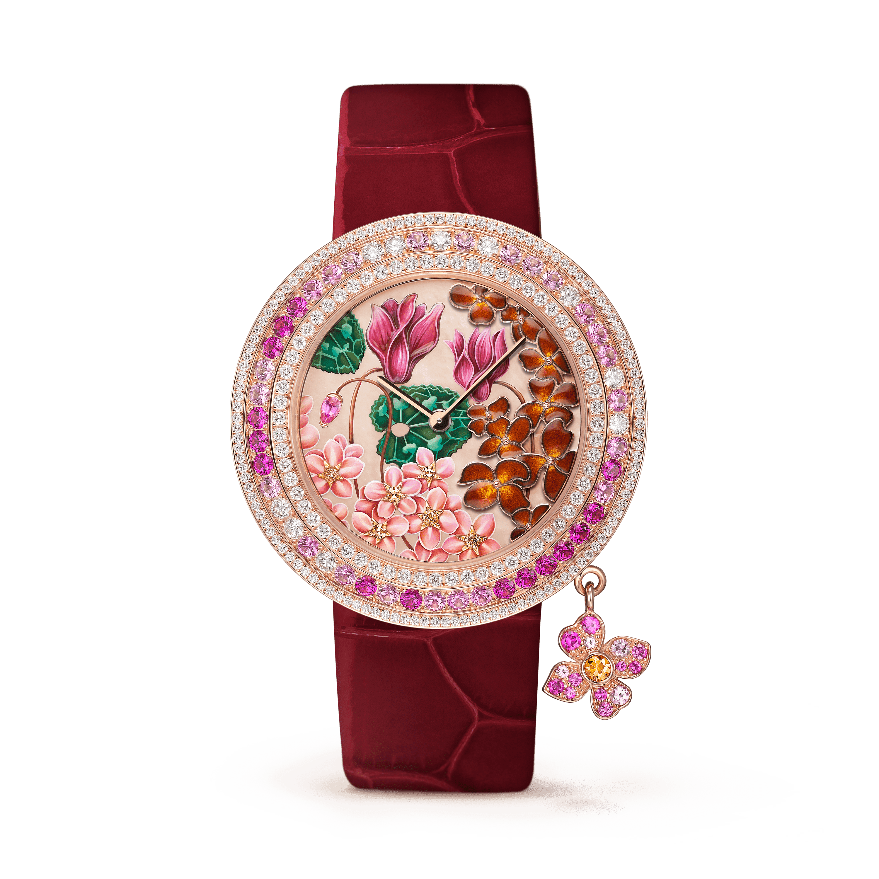 Charms Extraordinaire Amour Watch,Shiny alligator, square scale,self interchangeable - Front View - VCARO4JW00 - Van Cleef & Arpels