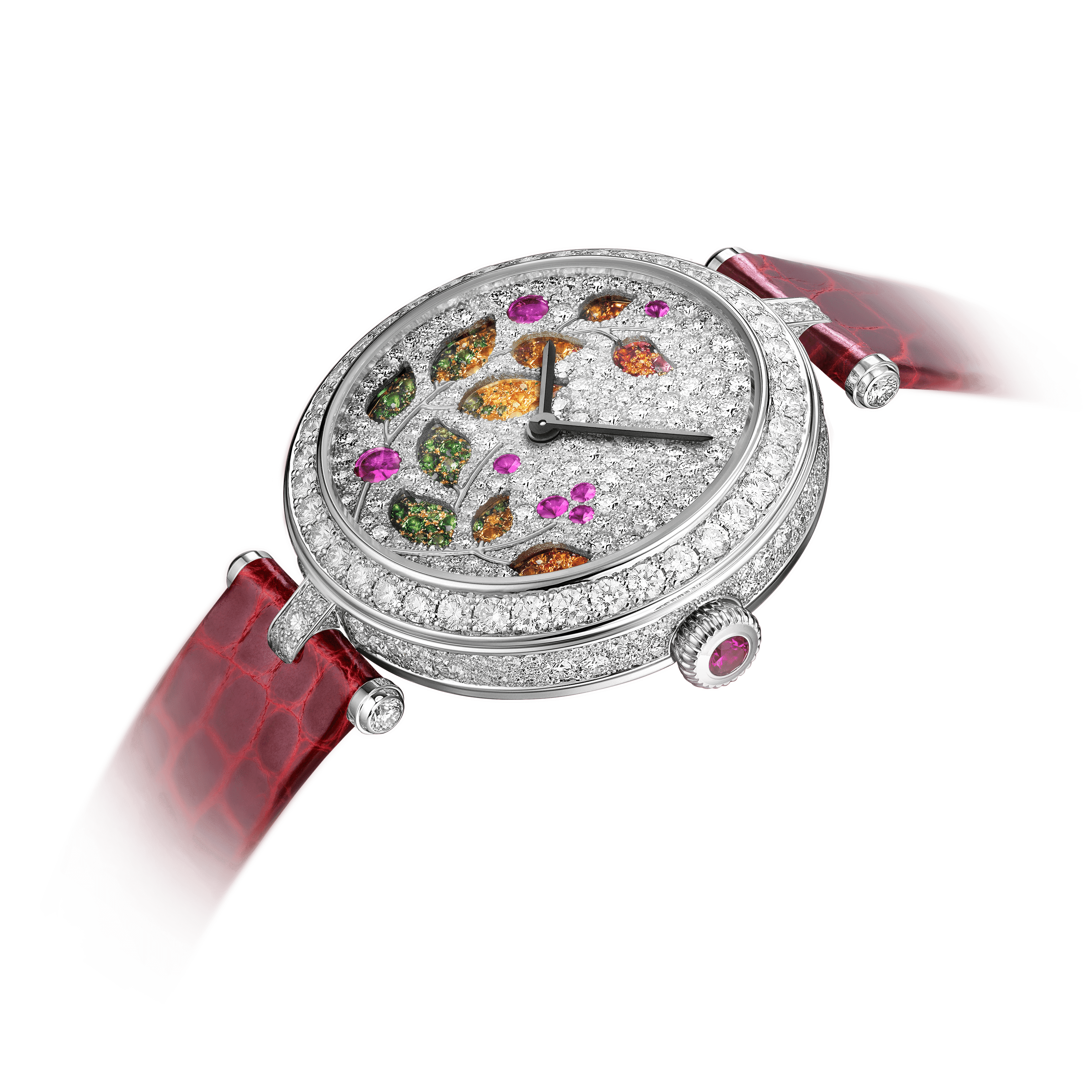 Lady Jour des Fleurs Watch,Alligator Shiny - Detail View - VCARO8O000 - Van Cleef & Arpels