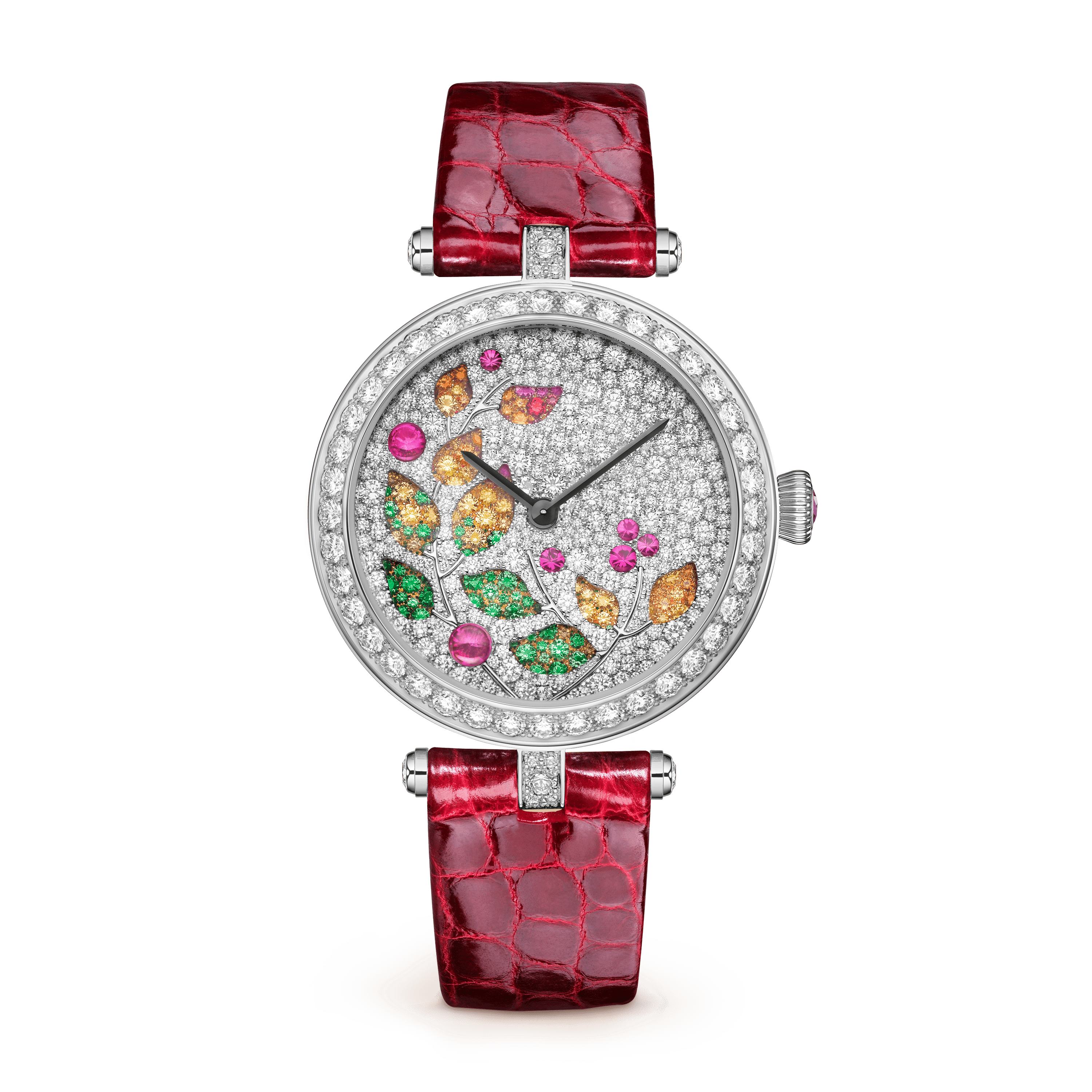 Lady Jour des Fleurs Watch,Alligator Shiny - Front View - VCARO8O000 - Van Cleef & Arpels