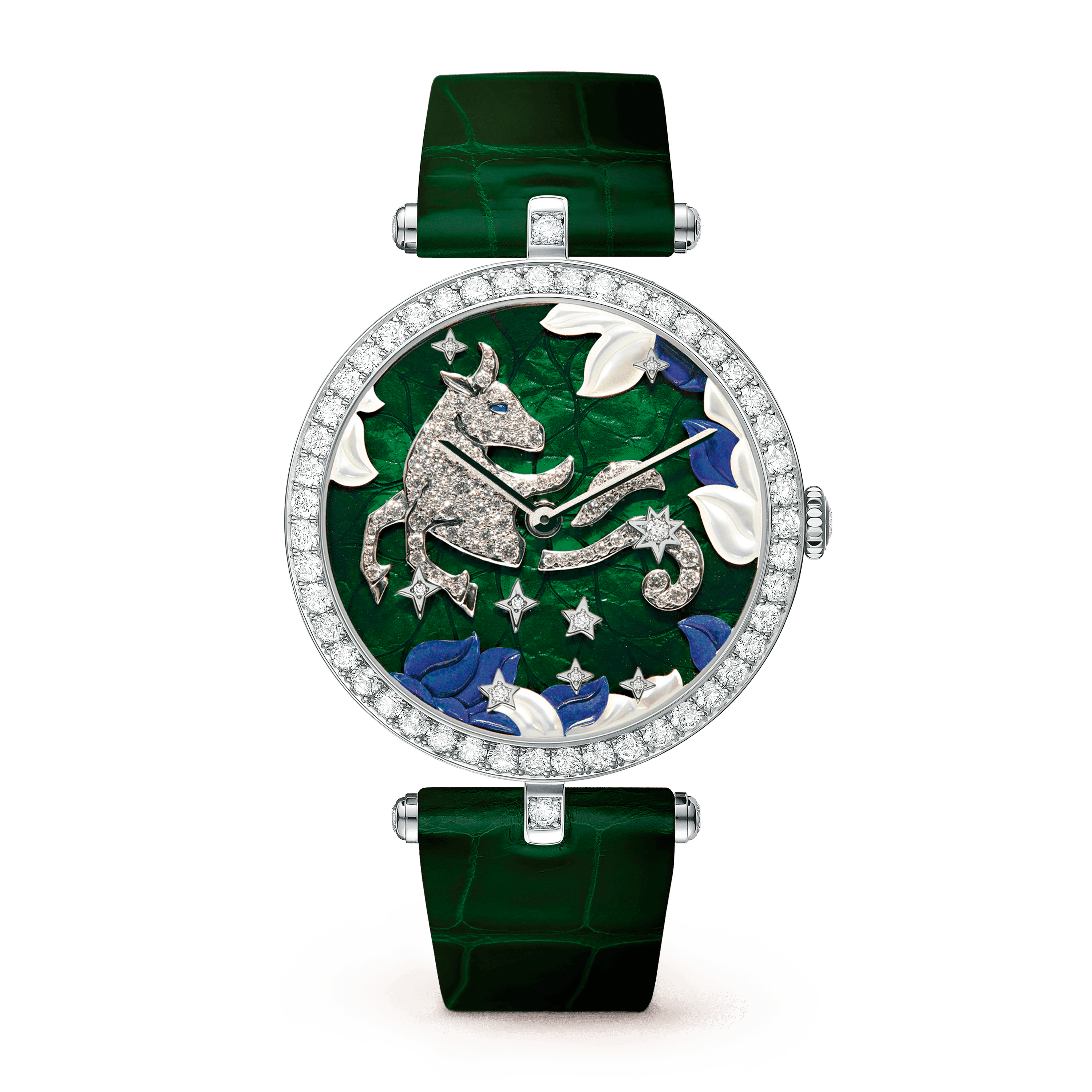 Lady Arpels Zodiac Taurus Watch,Shiny alligator, square scale - Front View - VCARO4I200 - Van Cleef & Arpels