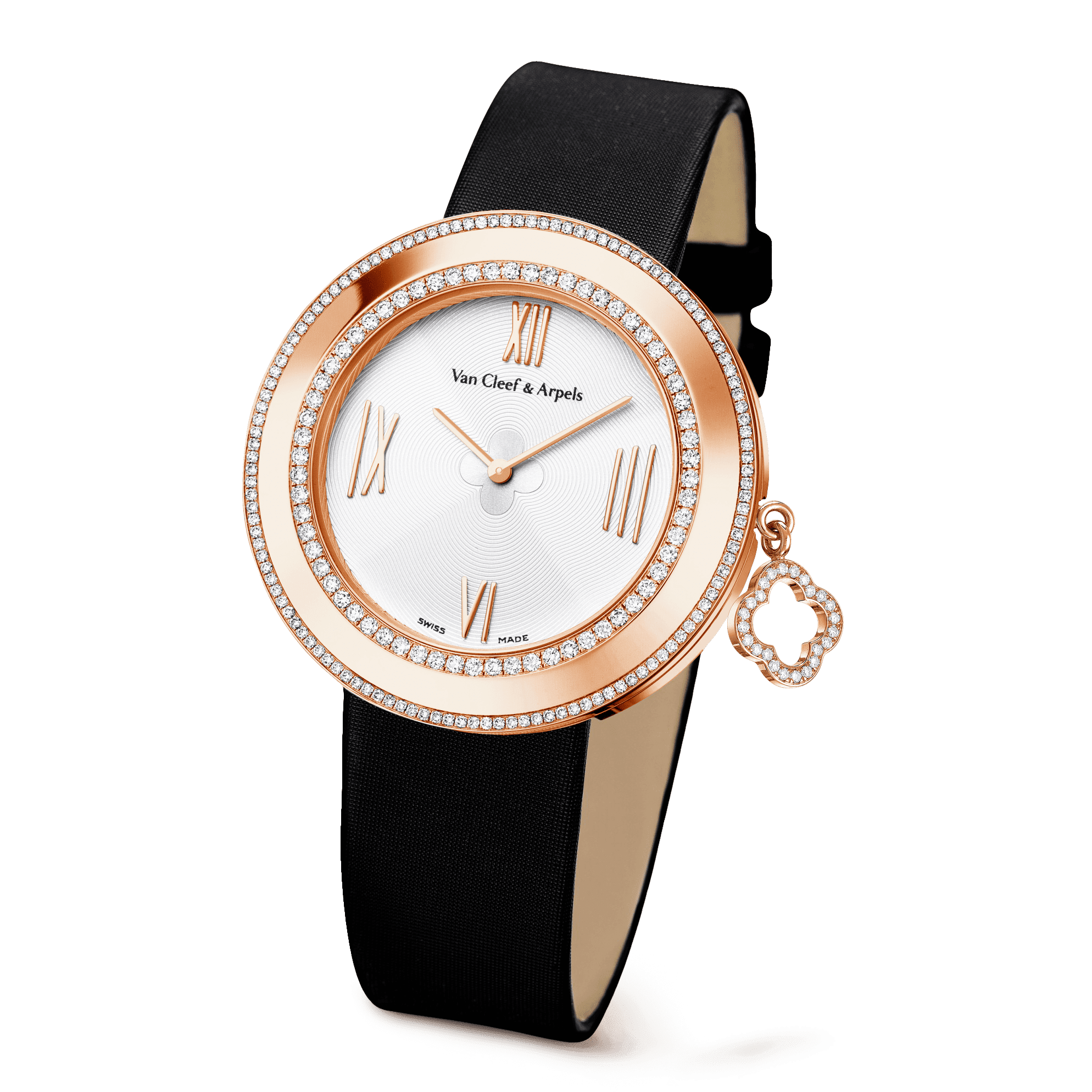 Charms watch, 38 mm,Satin,self interchangeable - 3|4 View - VCARM95100 - Van Cleef & Arpels