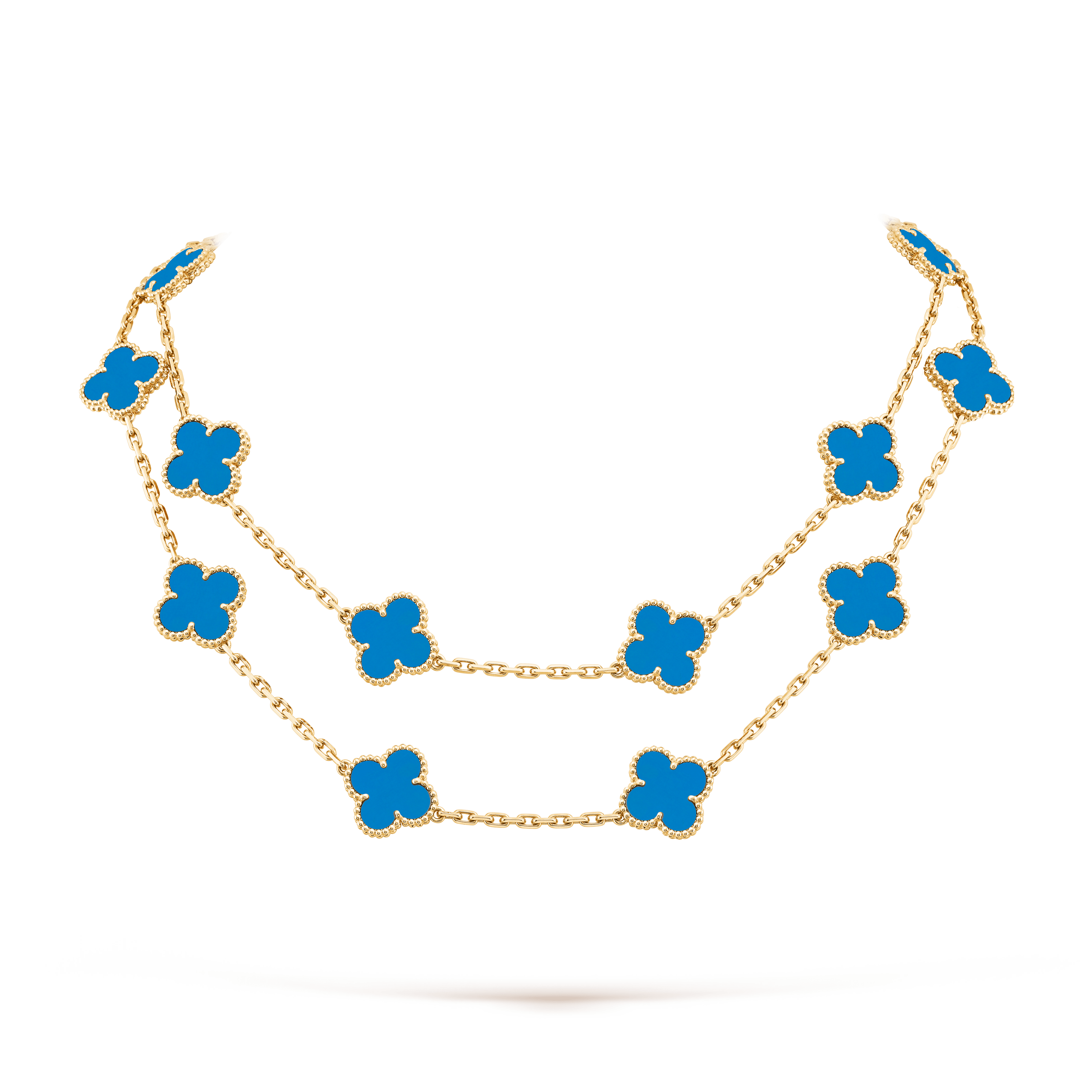 Vintage Alhambra long necklace, 20 motifs, Yellow gold, Agate:  20 stones, Detail, Jewelry Long Necklace