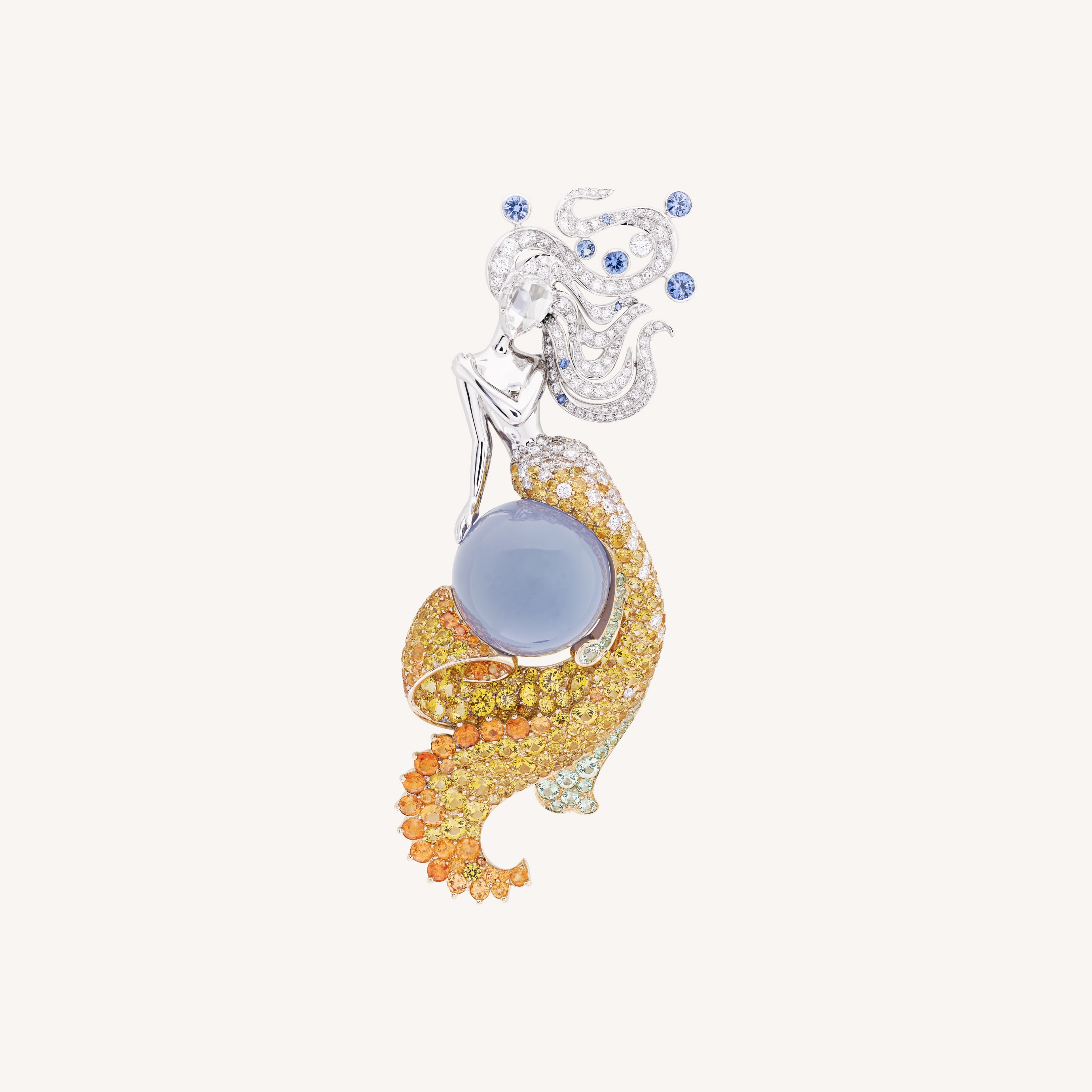 Fée des Mers clip, White gold, round and rose-cut diamonds, round blue sapphires, yellow gold, round yellow sapphires, round spessartite garnets, round grossular garnets, one 23.64-carat cabochon-cut chalcedony, Seven Seas™ Collection, Van Cleef & Arpels
