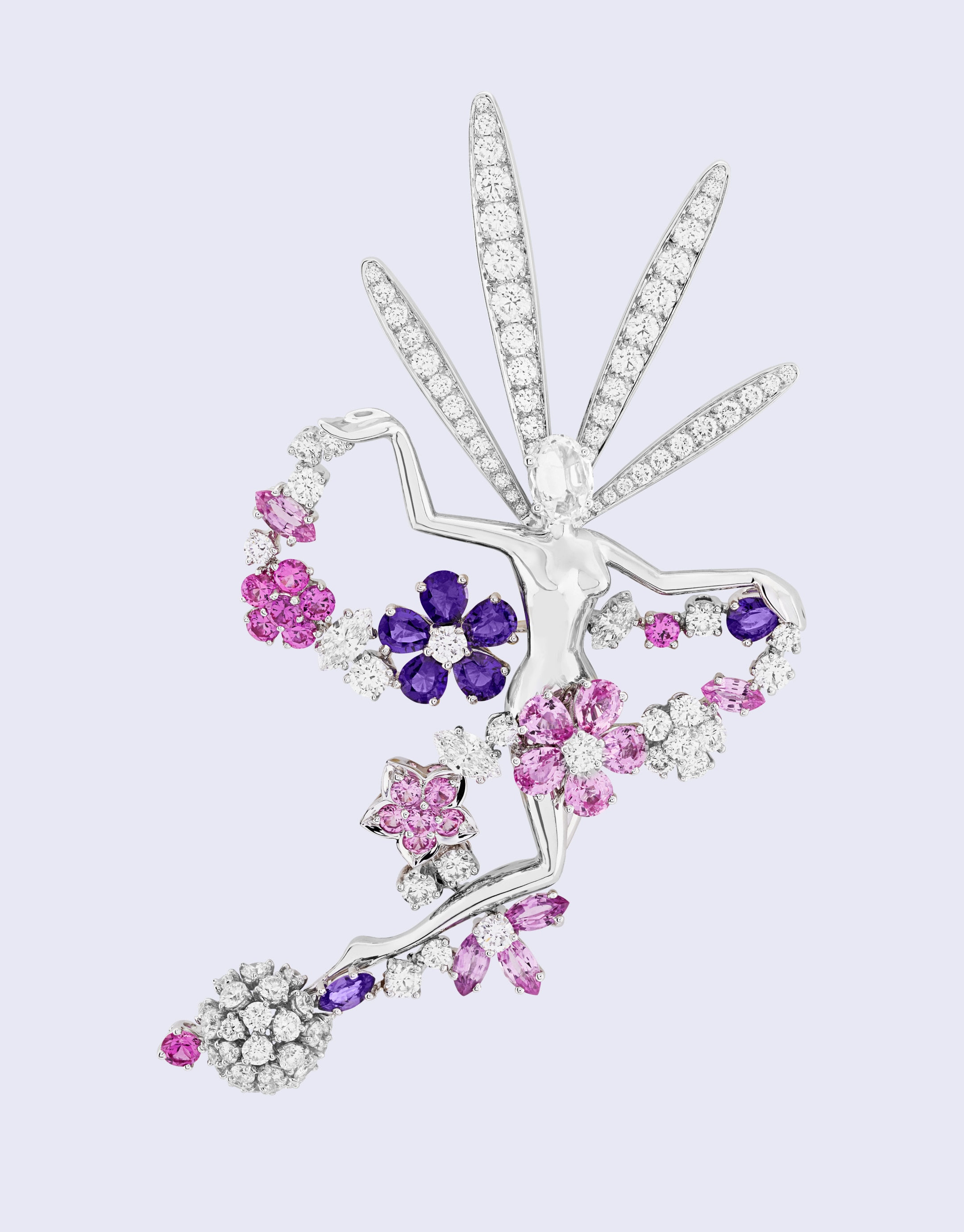 Folie des près fairy clip, White gold, mauve and pink sapphires, diamonds, Feminine Figures collection, Van Cleef & Arpels