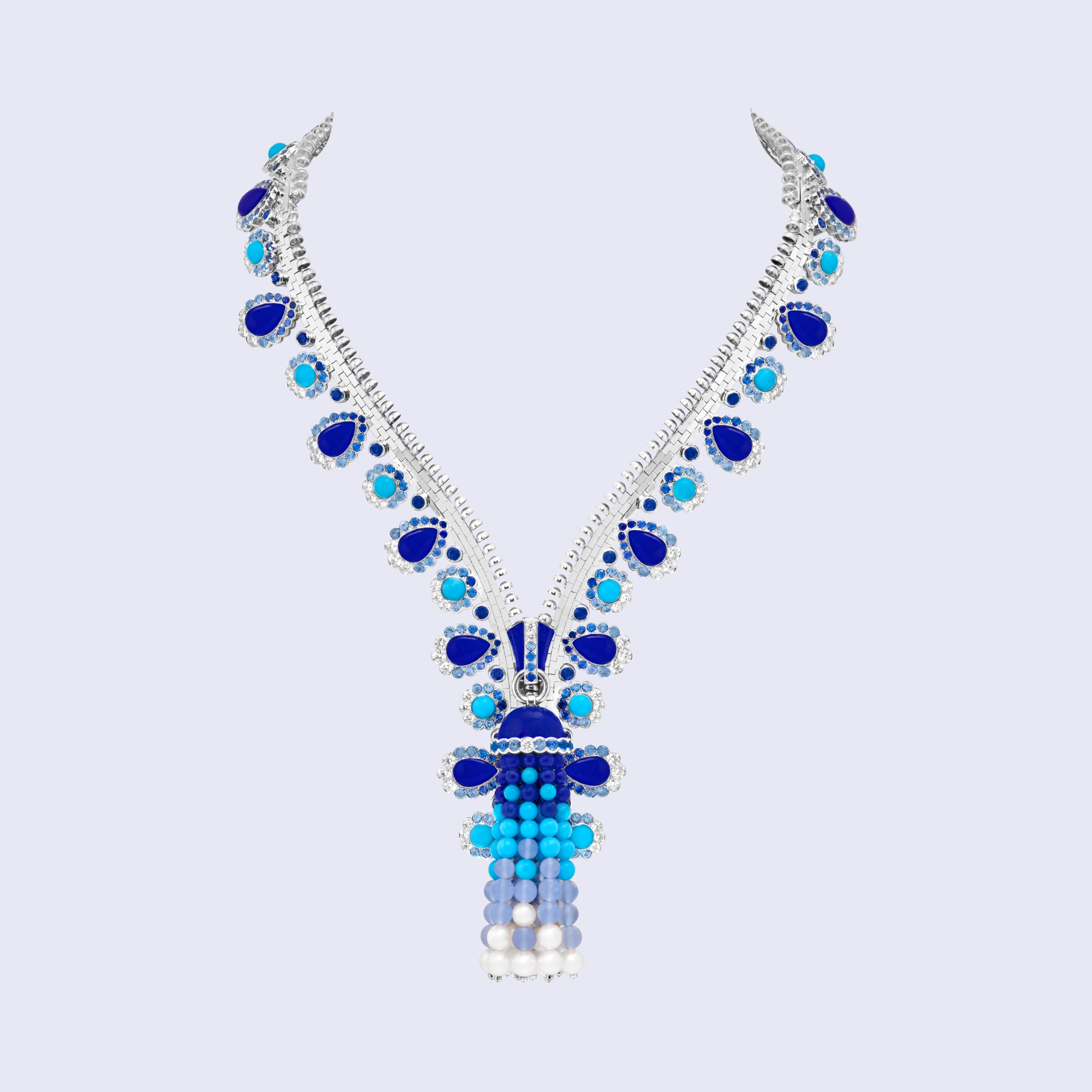 Zip Antique Orient necklace transformable into a bracelet, White gold, sapphires, lapis lazuli, turquoise, chalcedony, white cultured pearls, diamonds, Zip collection, Van Cleef & Arpels