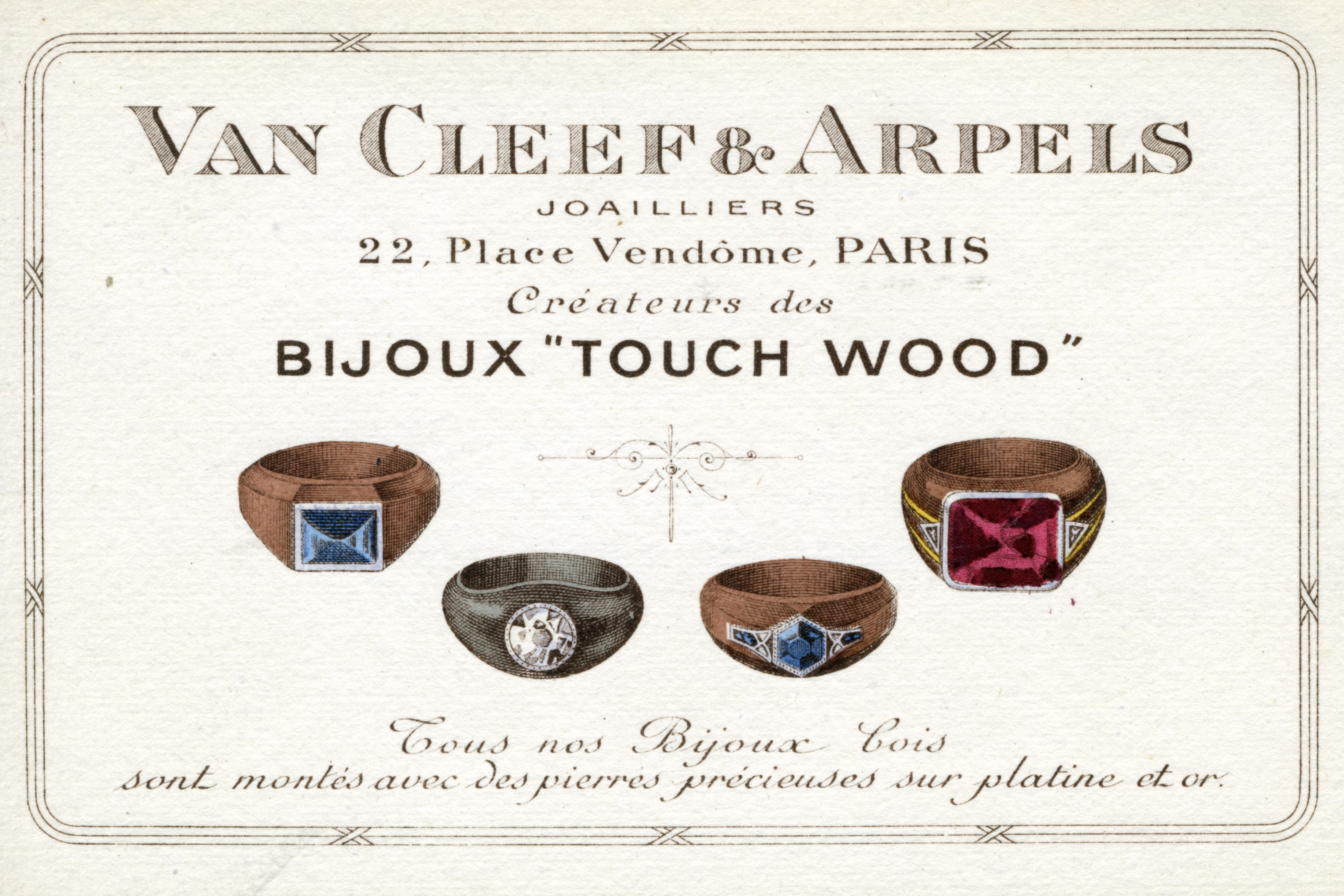 Touch Wood advert, circa 1916, Van Cleef & Arpels Archives