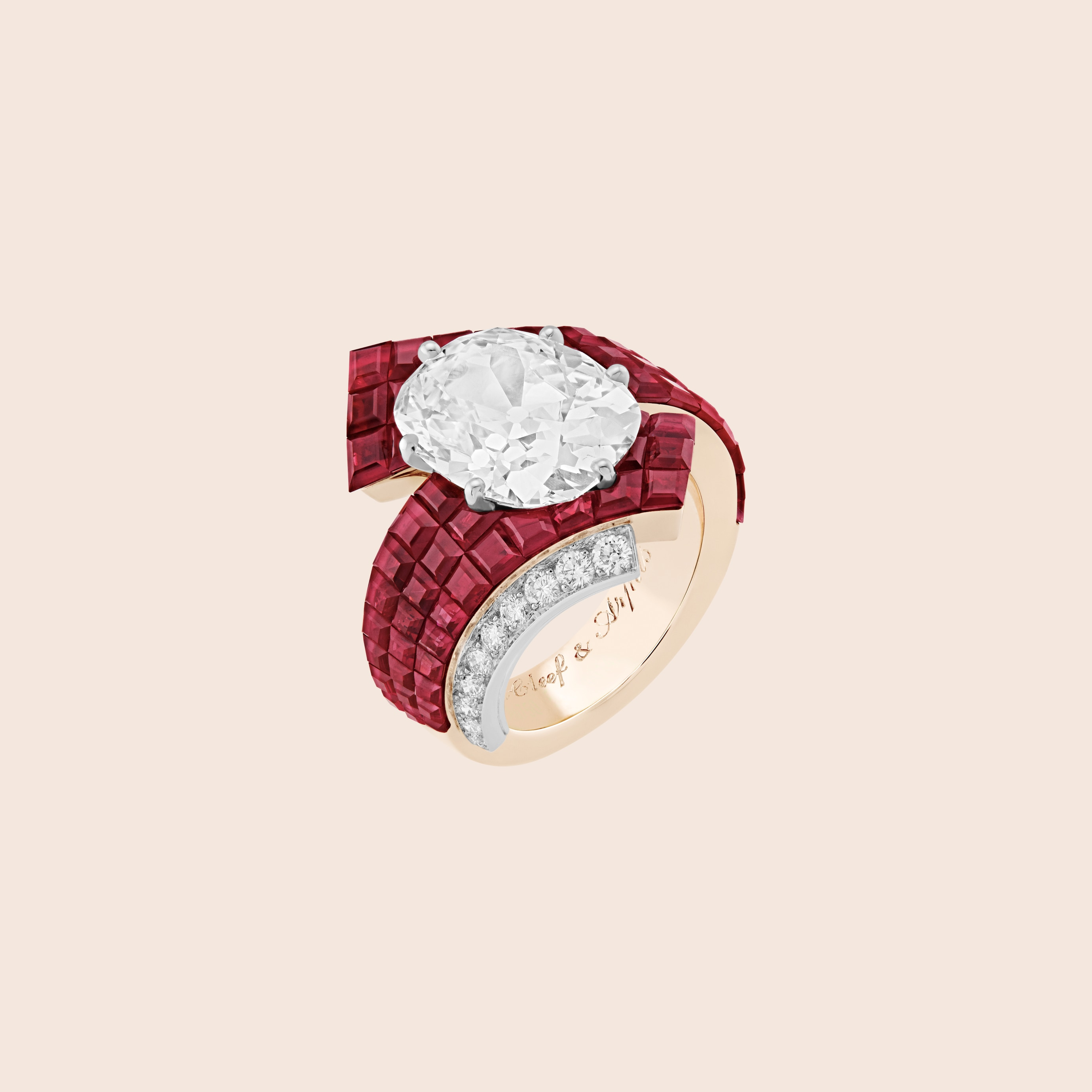 Etoffe Mystérieuse ring, White gold, rose gold, Traditional Mystery Set rubies, one cushion-cut DIF diamond of 6.03 carats, diamonds, Treasure of rubies collection, Van Cleef & Arpels