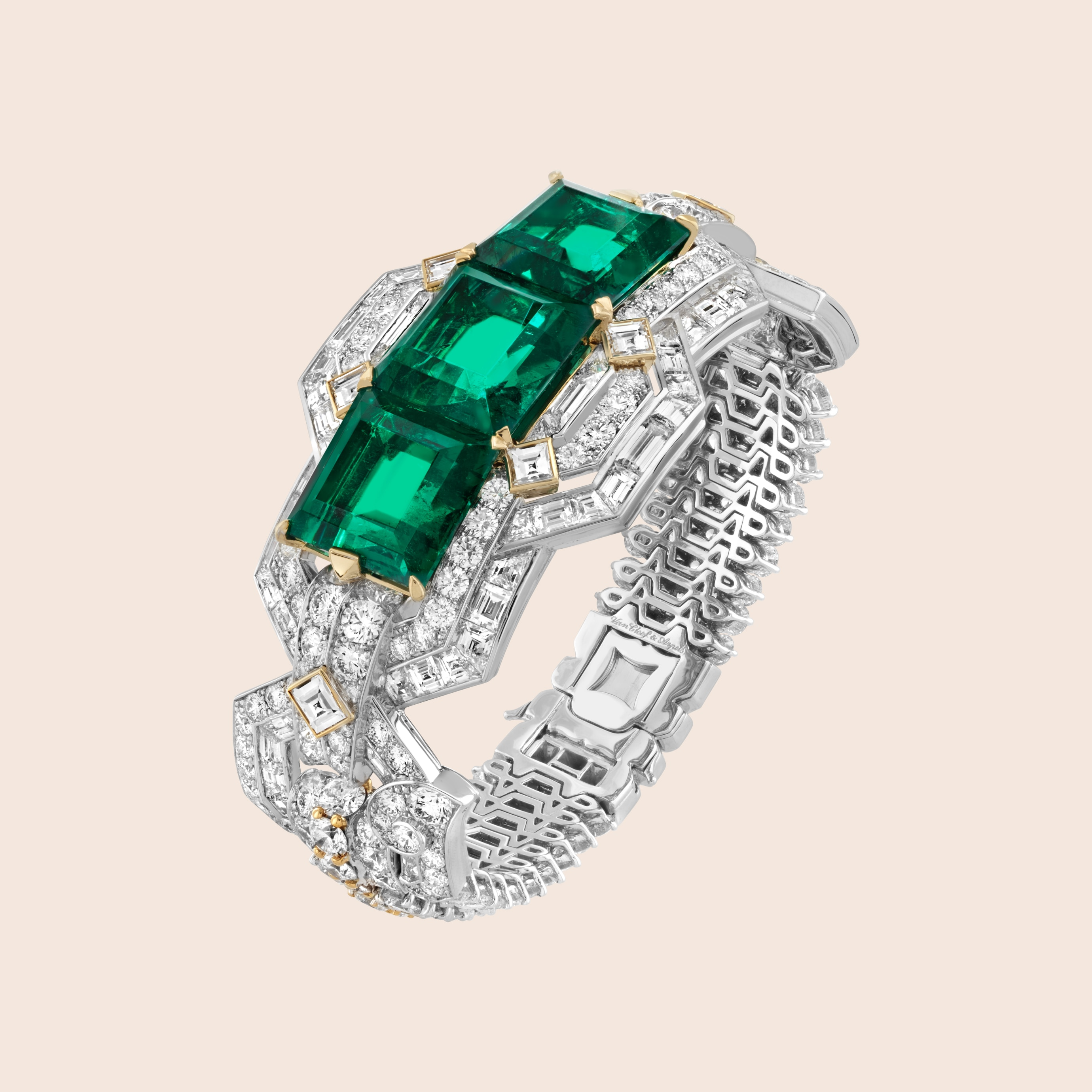 Lovers' path bracelet, White gold, yellow gold, one emerald-cut emerald of 14.47 carats (Colombia), one emerald-cut emerald of 13.71 carats (Colombia), one emerald-cut emerald of 11.90 carats (Colombia), diamonds, Romeo & Juliet collection, Van Cleef & Arpels