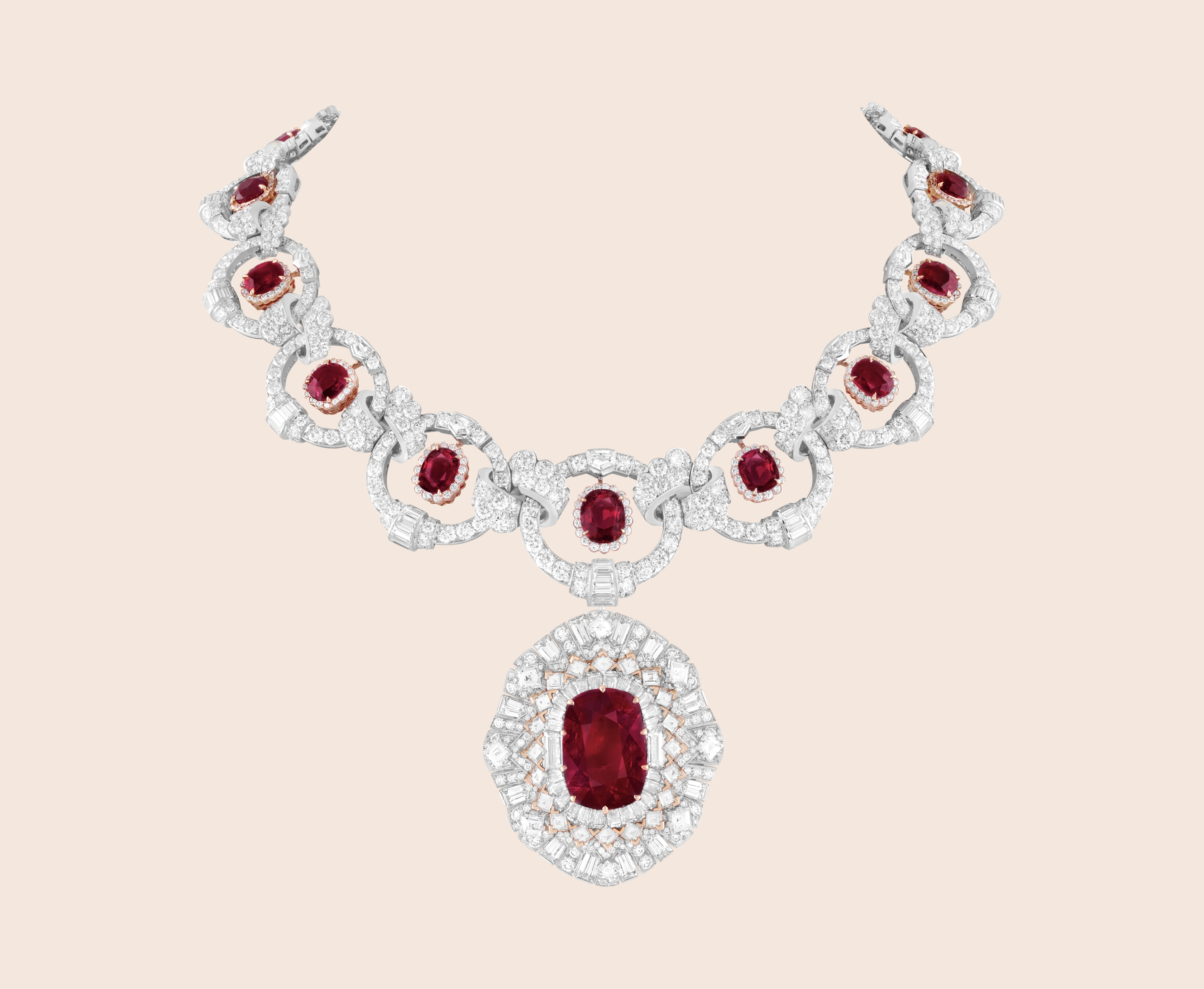 Rubis flamboyant transformable necklace, White gold, rose gold, 18 oval-cut and cushion-cut rubies for 30.40 carats (Burma), diamonds, Treasure of rubies collection, Van Cleef & Arpels