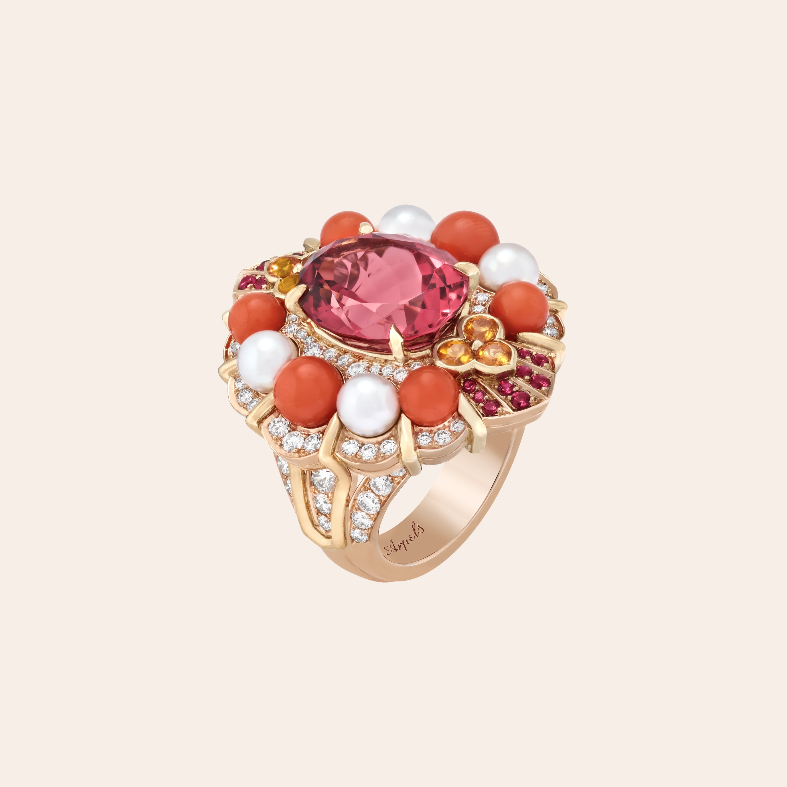 Sentimenti ring, Rose gold, yellow gold, one oval-cut pink tourmaline of 6.63 carats, rubies, spessartite garnets, coral, white cultured pearls, diamonds, Romeo & Juliet collection, Van Cleef & Arpels