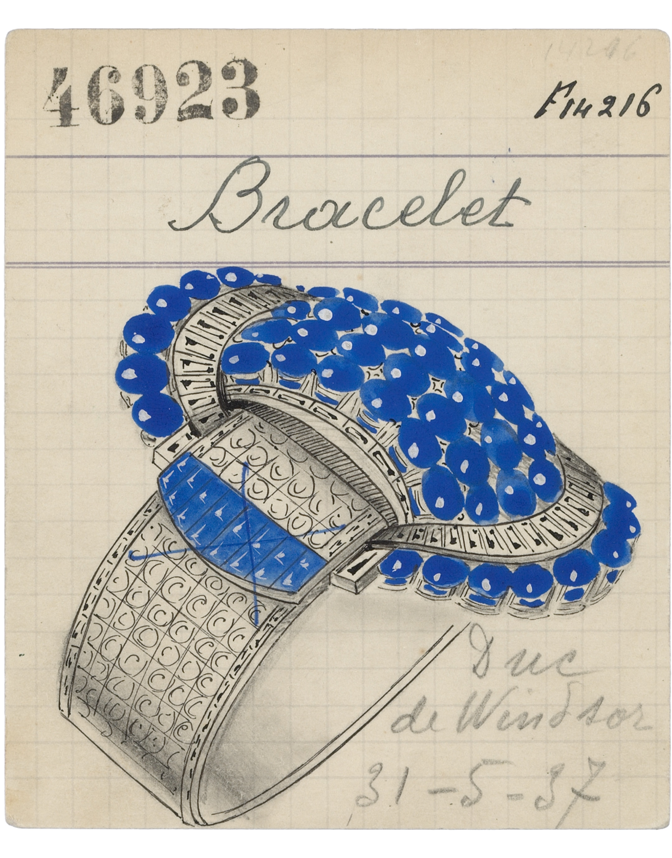 Product card of a Jarretière bracelet, 1937, Van Cleef & Arpels Archives