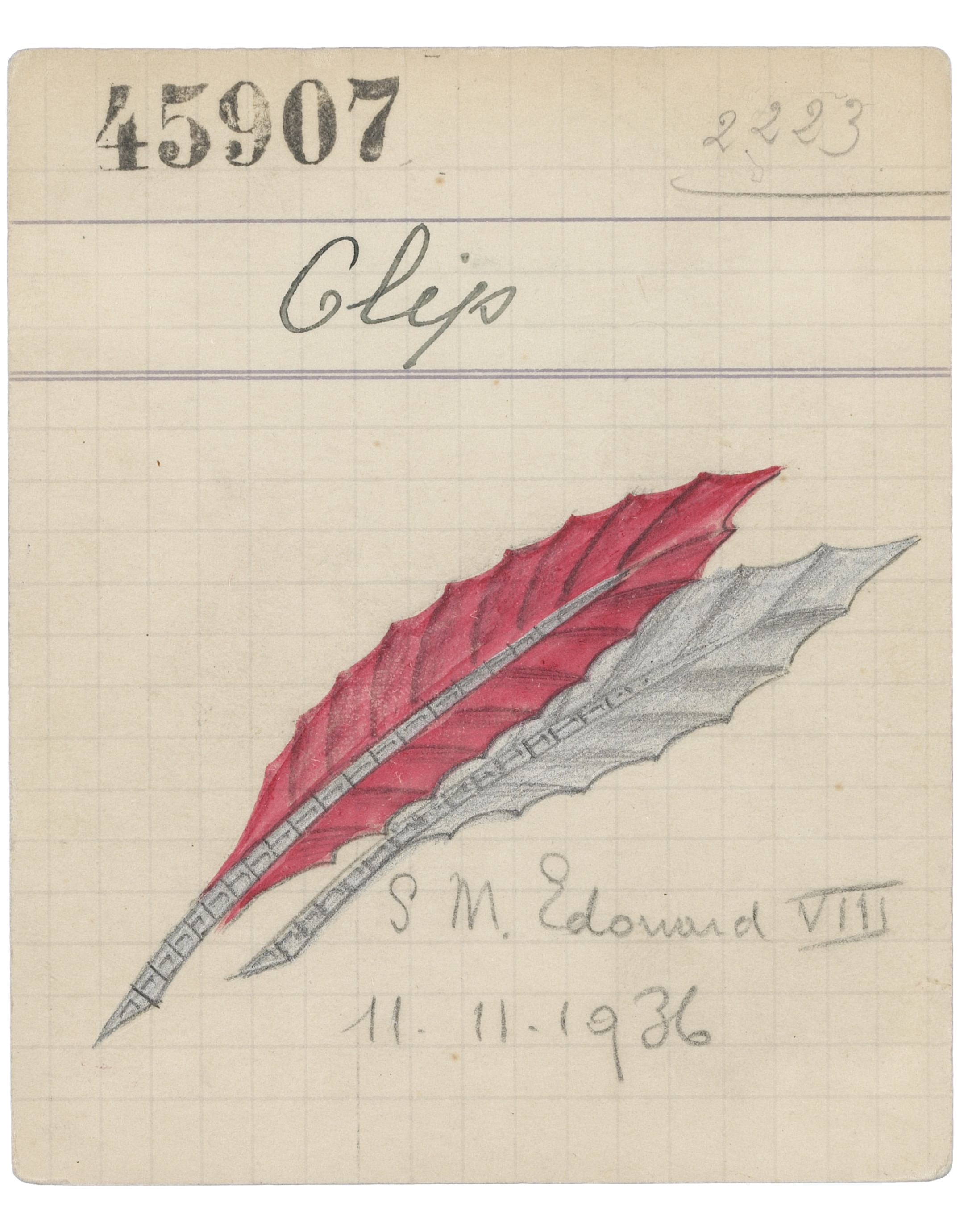 Product card of a Two Feathers clip, 1936, Van Cleef & Arpels Archives
