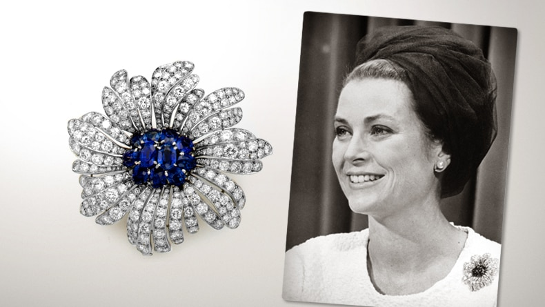 Daisy brooch, 1956, Private Collection of H.S.H. Princess Grace of Monaco, Principality of Monaco / H.S.H. Princess Grace of Monaco wearing the Daisy brooch Image 4 - Van Cleef & Arpels