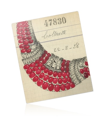 Collerette necklace retail card, 1937, Van Cleef & Arpels' Archives Image 3 - Van Cleef & Arpels